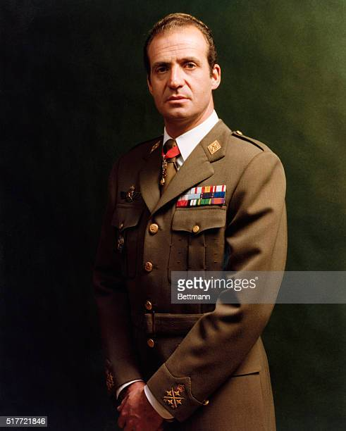 Spain's King Juan Carlos in his uniform ascended the throne in 1975 after the death of Francisco Franco