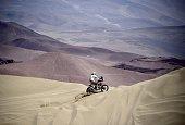 Spain's Laia Sanz PlaGiribert powers her Honda during 2015 Dakar Rally stage 8 between Uyuni Bolivia and Iquique Chile on January 12 2015 The Uyuni...