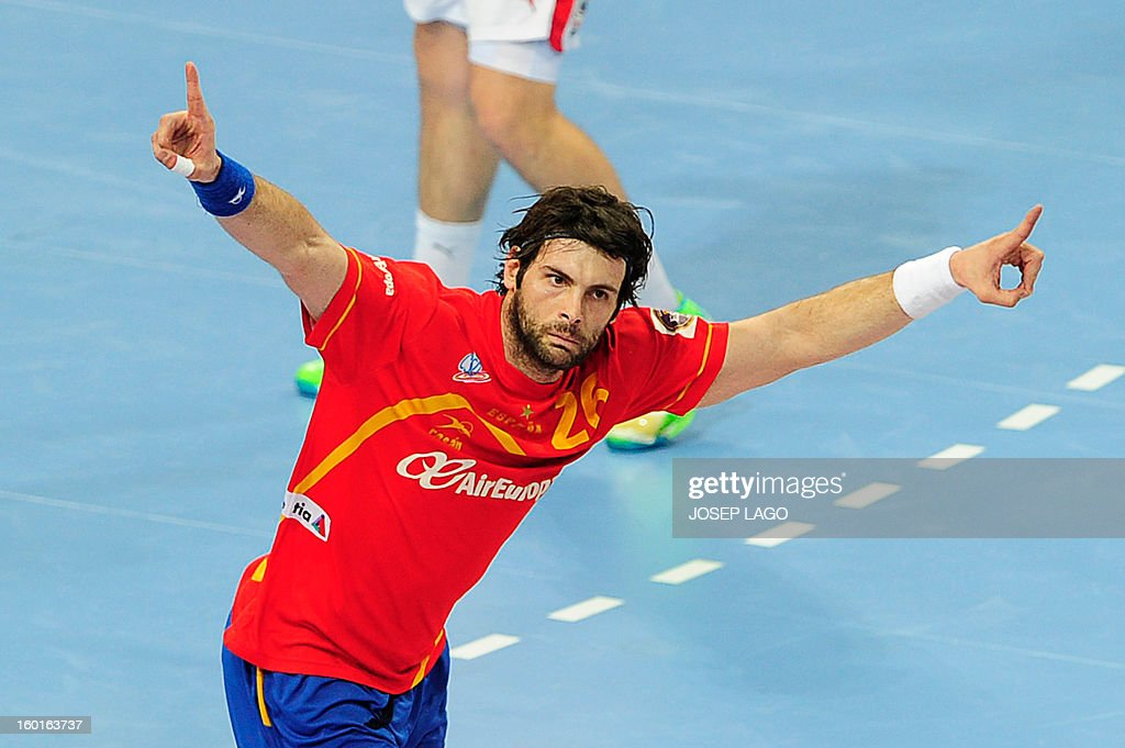 Spain's left back Antonio Jesus Garcia celebrates after scoring during the 23rd Men's Handball World Championships final match Spain vs Denmark at the Palau Sant Jordi in Barcelona on January 27, 2013.