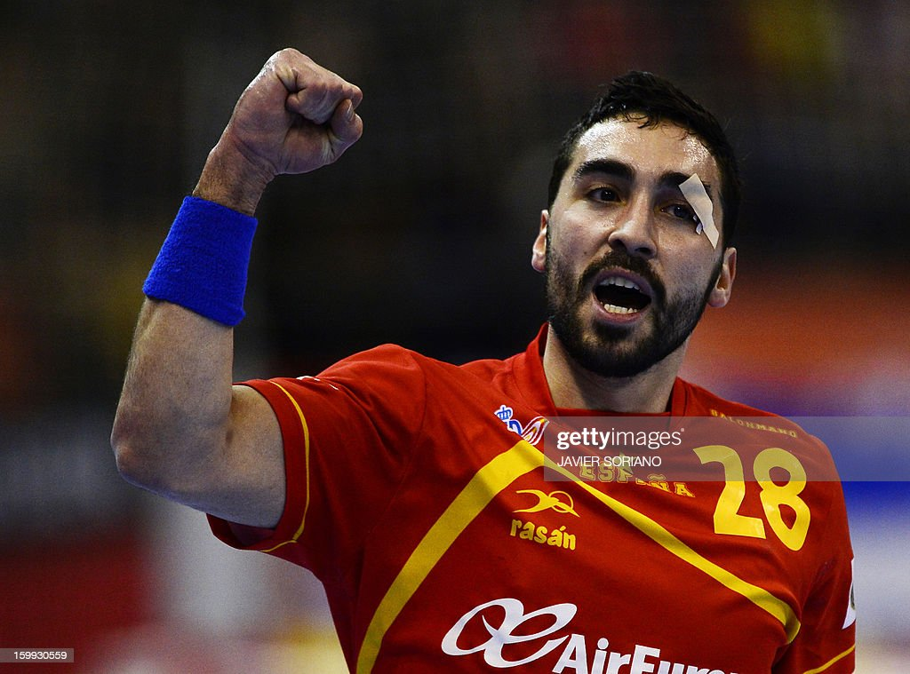 Spain's left wing Valero Rivera celebrates after scoring during the 23rd Men's Handball World Championships quarterfinal match Spain vs Germany at...