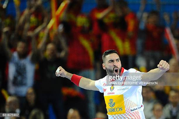 Spain's left wing Valero Rivera celebrates scoring during the 25th IHF Men's World Championship 2017 Group B handball match Tunisia vs Spain on...