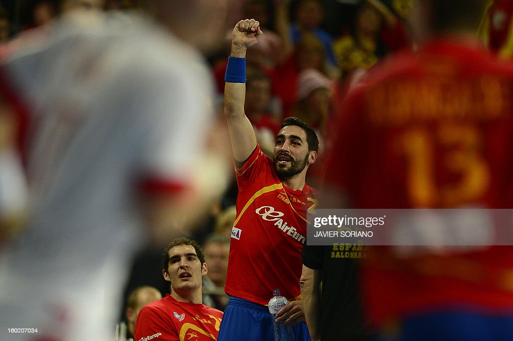 Spain's left wing Valero Rivera celebrates their victory at the end of the 23rd Men's Handball World Championships final match Spain vs Denmark at the Palau Sant Jordi in Barcelona on January 27, 2013.