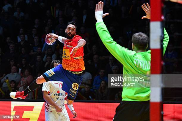 TOPSHOT Spain's left wing Valero Rivera jumps to shoot on goal during the 25th IHF Men's World Championship 2017 quarter final handball match Spain...