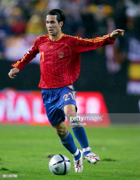 Spain's Luis Garcia dribbles the ball during a World Cup qualifier playoff first leg match between Spain and Slovakia at the Vicente Calderon stadium...