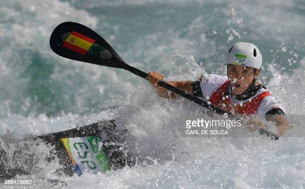 TOPSHOT Spain's Maialen Chourraut competes in the Women's K1 semifinal kayak slalom competition at the Whitewater stadium during the Rio 2016 Olympic...