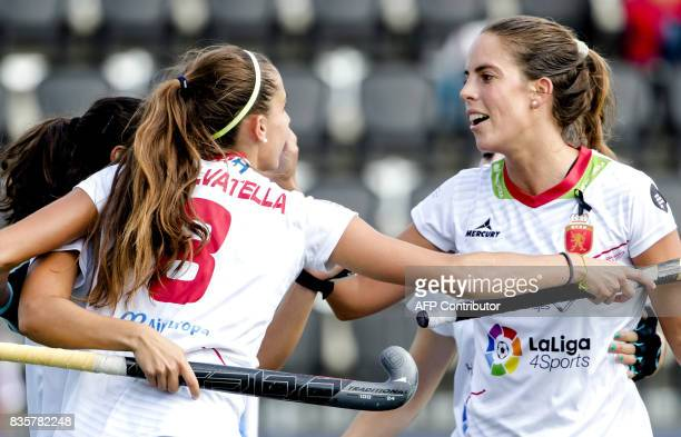 Spain's Maialen Garcia celebrates with teammates during the women's Hockey Rabo EuroHockey Championships 2017 Spain and the Czech Republic on August...