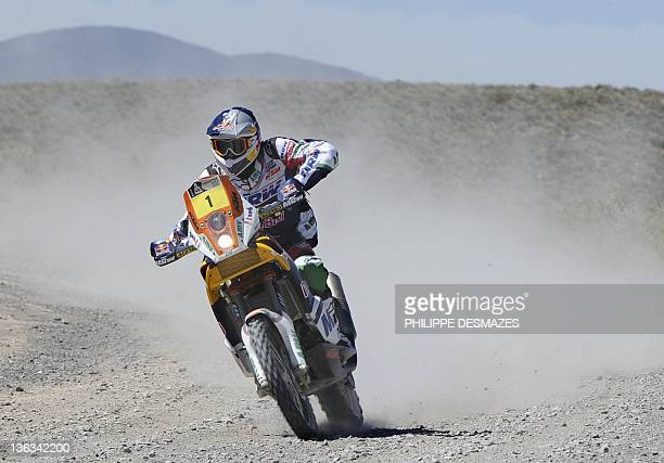 Spain's Marc Coma rides his KTM during the Stage 2 of the 2012 Dakar between Santa Rosa de la Pampa and San Rafael Argentina on January 2 2012...