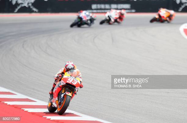 Spain's Marc Marquez who finished first turns the corner in the 2016 Grand Prix of the Americas MotoGP race at Circuit of the Americas in Austin...