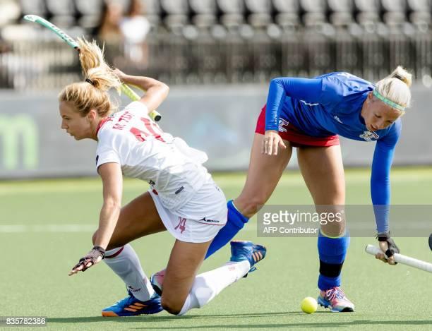 Spain's Maria Tost vies with Czech Republic's Tereza Mejzlikova during the women's Hockey Rabo EuroHockey Championships 2017 Spain and the Czech...