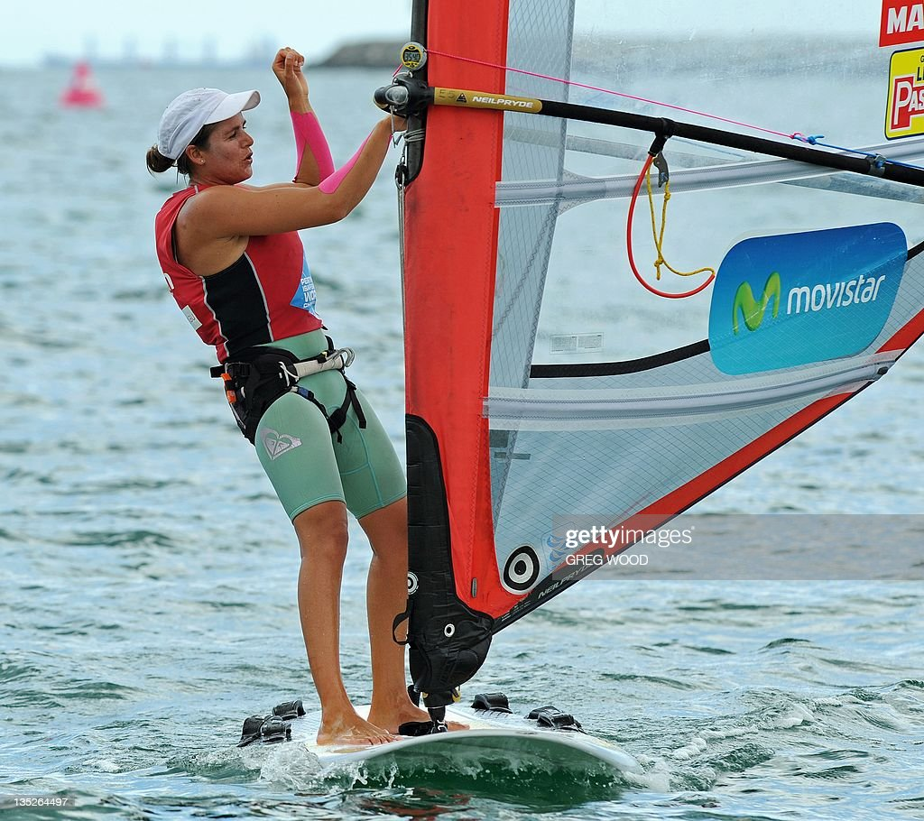 Spain's Marina Alabau gestures after completing the first Gold Fleet race in the
