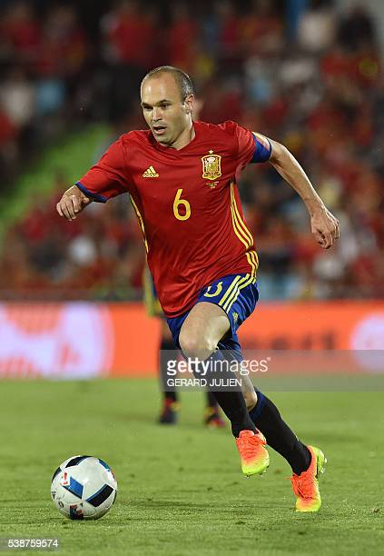 Spain's midfielder Andres Iniesta controls a ball during the friendly football match Spain vs Georgia at the Coliseum Alfonso Perez stadium in Getafe...