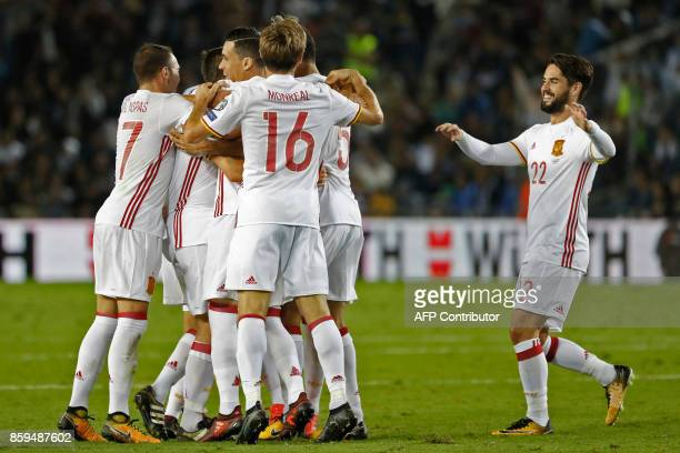 Spain's midfielder Asier Illarramendi reacts after scoring during the Russia 2018 FIFA World Cup European Group G qualifying football match between...