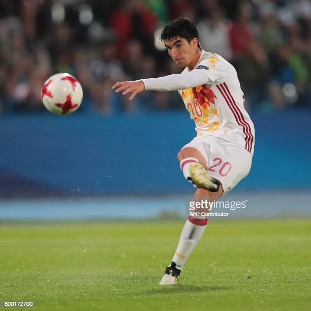 Spain's midfielder Carlos Soler plays the ball during the UEFA U21 European Championship Group B football match Serbia v Spain in Bydgoszcz Poland on...