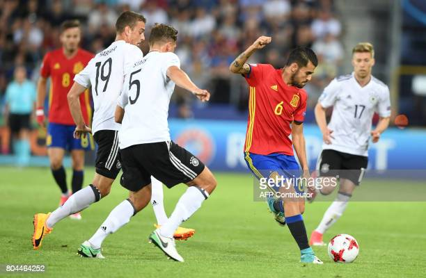 Spain's midfielder Dani Ceballos vies for the ball with Germany's defender Niklas Stark and Germany's forward Janik Haberer during the UEFA U21...