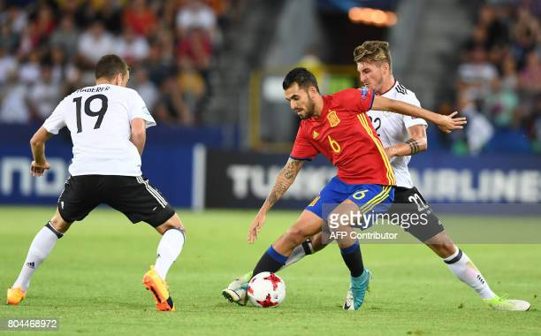 Spain's midfielder Dani Ceballos vies for the ball with Germany's forward Janik Haberer and Germany's forward Maximilian Philipp during the UEFA U21...
