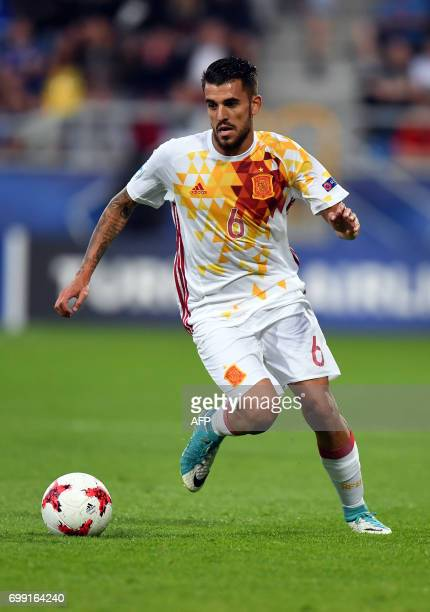 Spain's midfielder Daniel Ceballos Fernandez in action during the UEFA U21 European Championship Group B football match Spain v Portugal in Gdynia on...