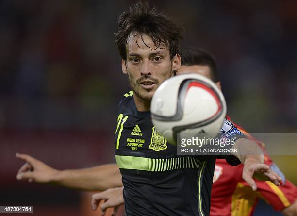 Spain's Midfielder David Silva eyes the ball during the Euro 2016 Group C qualifying football match between Macedonia and Spain at the Filip II Arena...