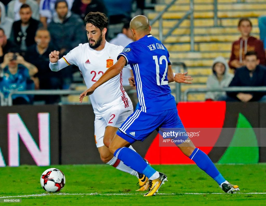 Spain's midfielder Isco vies for the ball with Israel's forward Tal Ben Haim during the Russia 2018 FIFA World Cup European Group G qualifying football match between Israel and Spain at Teddy Stadium in Jerusalem on October 9, 2017 Spain is already qualified for the 2018 World Cup in Russia. /