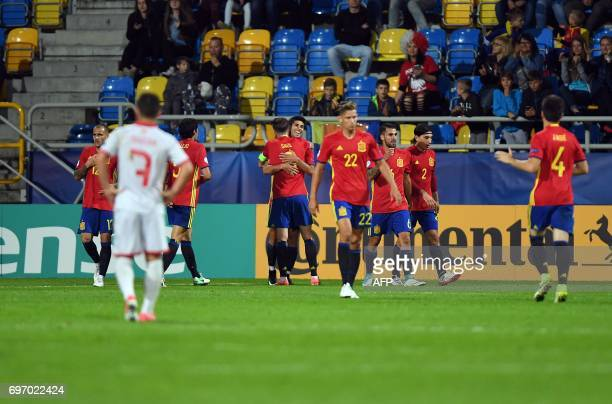 Spain's midfielder Marco Asensio celebrates his goal during the UEFA U21 European Championship Group B football match Spain v Macedonia in Gdynia...