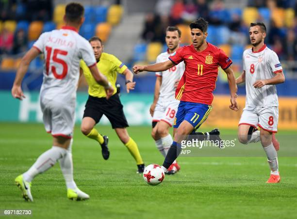 Spain's midfielder Marco Asensio plays the ball during the group stage Group B match Spain vs FYR Macedonia of the 2017 UEFA European Under21...