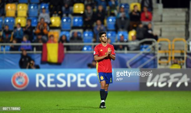 Spain's midfielder Marco Asensio reacts during the group stage Group B match Spain vs FYR Macedonia of the 2017 UEFA European Under21 Championship...