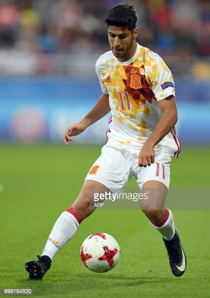Spain's midfielder Marco Asensio Willemsem in action during the UEFA U21 European Championship Group B football match Spain v Portugal in Gdynia on...