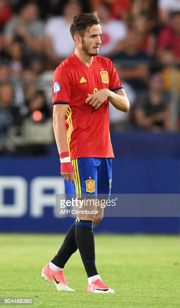 Spain's midfielder Saul Niguez reacts during the UEFA U21 European Championship football final match Germany v Spain in Krakow Poland on June 30 2017...