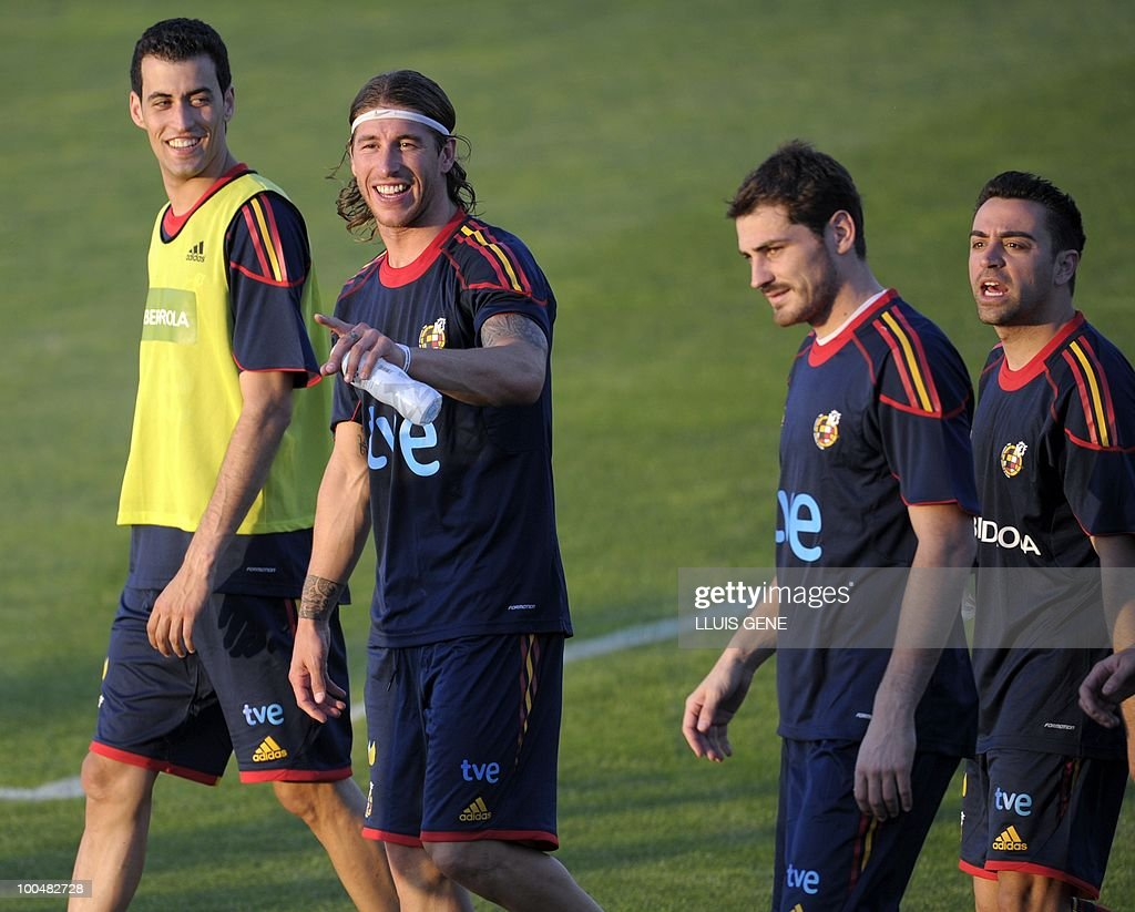 Spain's midfielder Sergi Busquets, Spain's defender Sergio Ramos, Spain's goalkeeper and captain Iker Casillas, Spain's midfielder Xavi Hernandez take part in a training session of the Spanish football team with Spain's Prince Felipe on May 24, 2010, at the Sports City of Las Rozas, near Madrid. Spain, among the favourites for the World Cup, which runs from June 11-July 11, face Switzerland, Honduras and Chile in Group H of the opening round.
