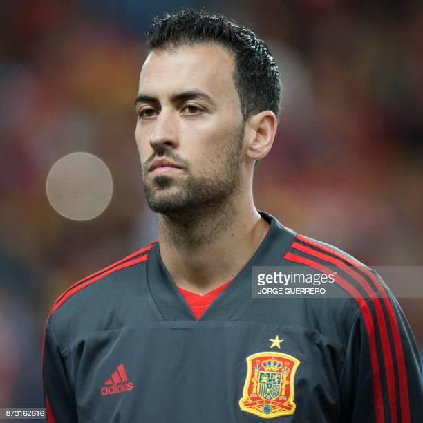 Spain's midfielder Sergio Busquets poses before the international friendly football match Spain against Costa Rica at La Rosaleda stadium in Malaga...