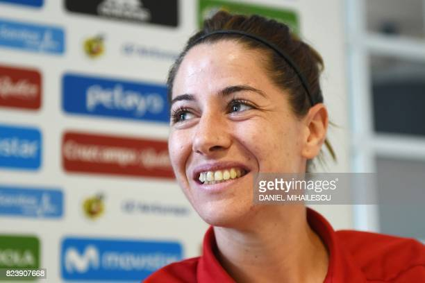 Spain's midfielder Vicky Losada speaks during a press conference following the training session during the UEFA Womens Euro 2017 football tournament...