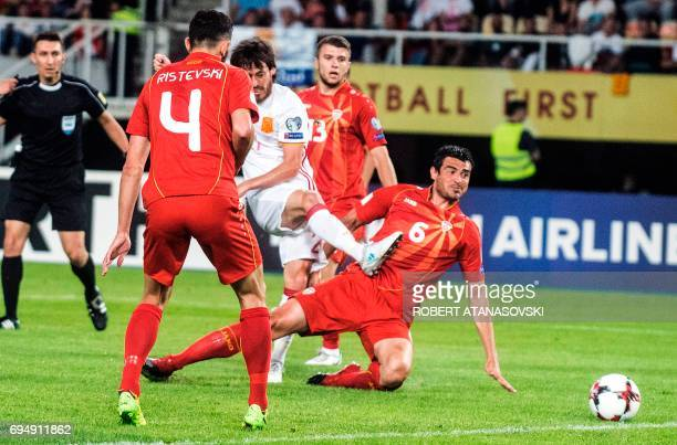 Spain's midifielder David Silva scores a goal during the FIFA World Cup 2018 qualification football match between Macedonia and Spain at the Philip...