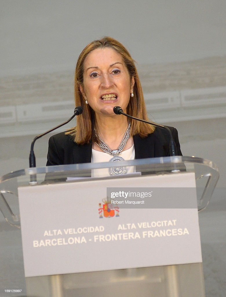 Spain's Minister of Development Ana Pastor attends a press presentation at the Girona train station for the inauguration of the AVE high-speed train line between Barcelona and the French border on January 8, 2013 in Barcelona, Spain.