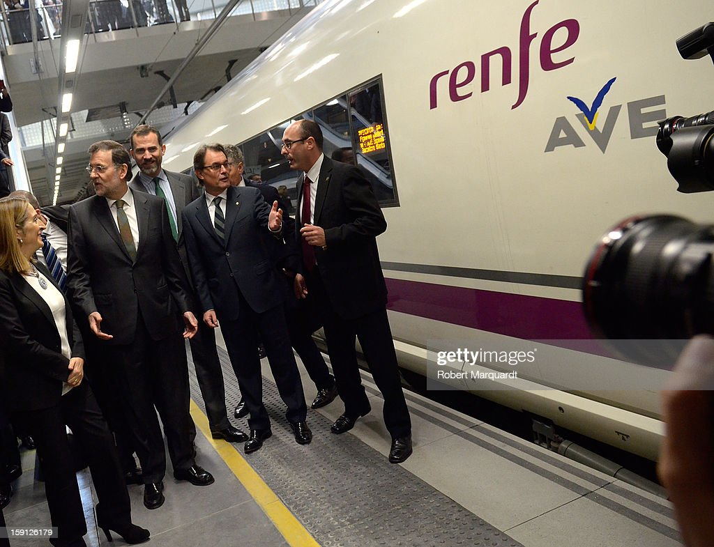 Spain's Minister of Development Ana Pastor, Prime Minister of Spain Mariano Rajoy, Prince Felipe of Spain and President of Catalunya Artur Mas attend a press presentation at the Girona train station for the inauguration of the AVE high-speed train line between Barcelona and the French border on January 8, 2013 in Barcelona, Spain.