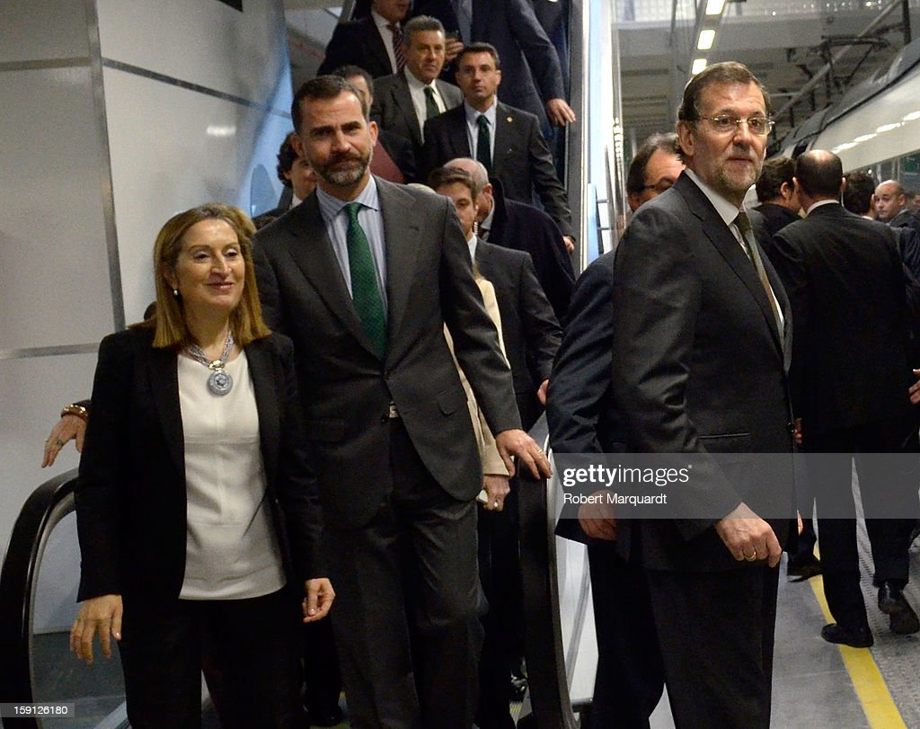 Spain's Minister of Development Ana Pastor, Prince Felipe of Spain and Prime Minister of Spain Mariano Rajoy attend a press presentation at the Girona train station for the inauguration of the AVE high-speed train line between Barcelona and the French border on January 8, 2013 in Barcelona, Spain.