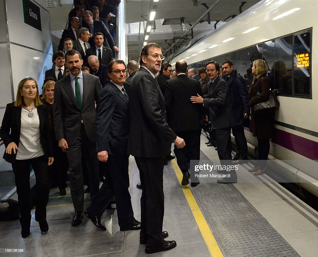 Spain's Minister of Development Ana Pastor, Prince Felipe of Spain, President of Catalunya <a gi-track='captionPersonalityLinkClicked' href=/galleries/search?phrase=Artur+Mas&family=editorial&specificpeople=712829 ng-click='$event.stopPropagation()'>Artur Mas</a> and Prime Minister of Spain Mariano Rajoy attend a press presentation at the Girona train station for the inauguration of the AVE high-speed train line between Barcelona and the French border on January 8, 2013 in Barcelona, Spain.