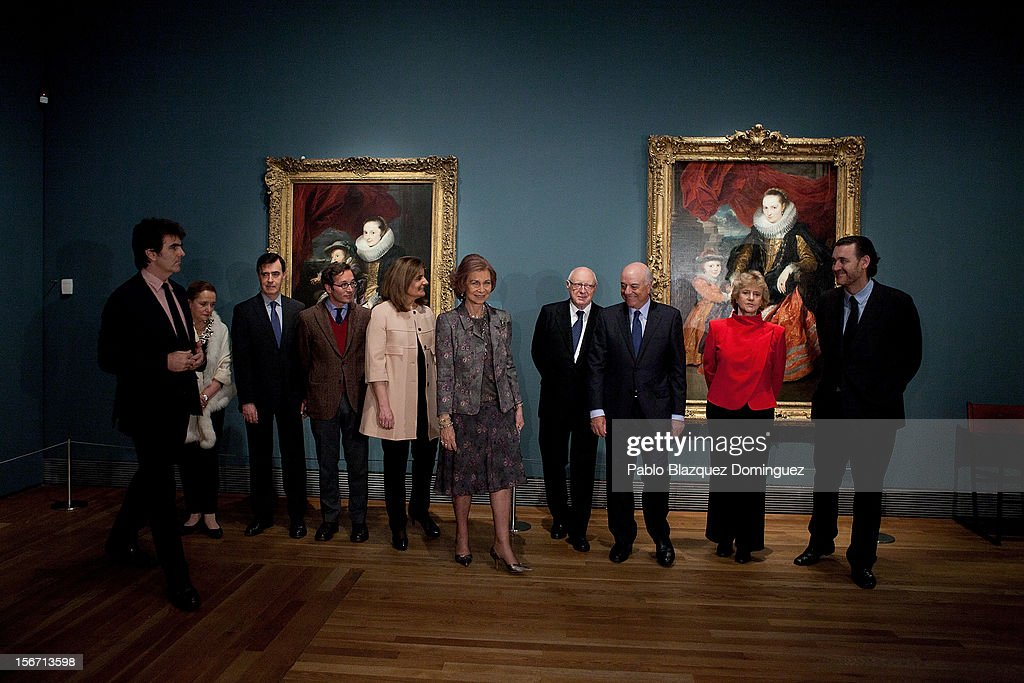 Spain's Minister of Employment and Social security Maria Fatima Banez Garcia (5L) and Queen Sofia of Spain (5R) attend 'El Joven Van Dyck' exhibition at the Prado Museum on November 19, 2012 in Madrid, Spain.