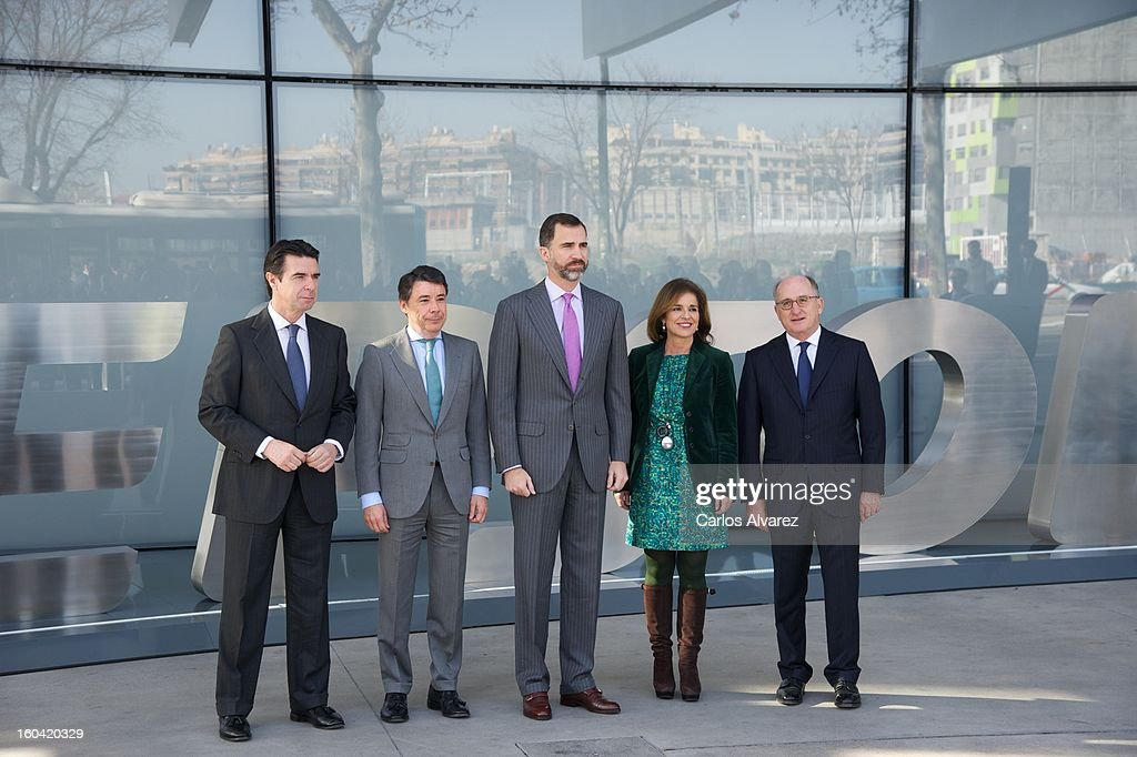 Spain's Minister of Industry, Energy and Tourism Jose Manuel Soria, President of Madrid Region Ignacio Gonzalez, Prince Felipe of Spain, Madrid Major Ana Botella and Repsol President Antonio Brufau during their visit to the new Repsol Headquarters on January 31, 2013 in Madrid, Spain.