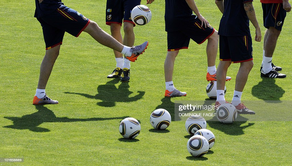 Spain's national football team players train on June 6, 2010 at the Sports City of Las Rozas, near Madrid. Spain is preparing for the June 11 to July 11 FIFA 2010 World Cup and will face Switzerland, Honduras and Chile in Group H of the opening round.
