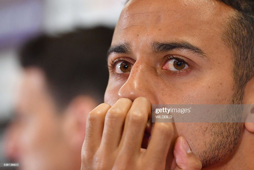 Spain's national soccer player Thiago addresses a press conference in Schruns on May 30, 2016 in preparation for the upcoming Euro 2016 European football championships. / AFP / WILDBILD