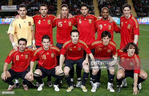 Spain's national team Iker Casillas Carlos Marchena Sergio Ramos Joan Capdevila Marcos Senna Fernando Torres Xavi Hernandez Cesc Fabregas Andres...