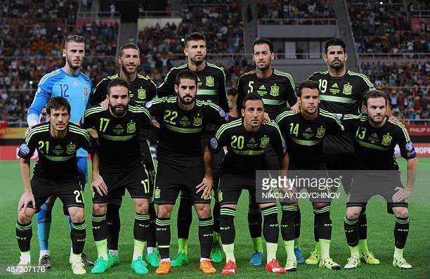 Spain's national team players pose before the Euro 2016 Group C qualifying football match between Macedonia and Spain at the Filip II Arena stadium...