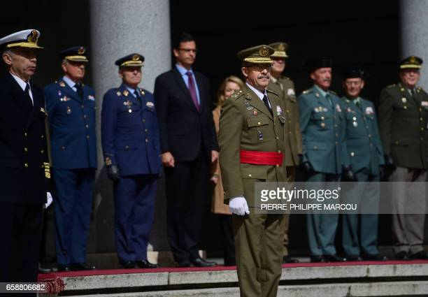 Spain's new chief of defence Fernando Alejandre stands during his swearing in ceremony in Madrid on March 28 2017 / AFP PHOTO / PIERREPHILIPPE MARCOU