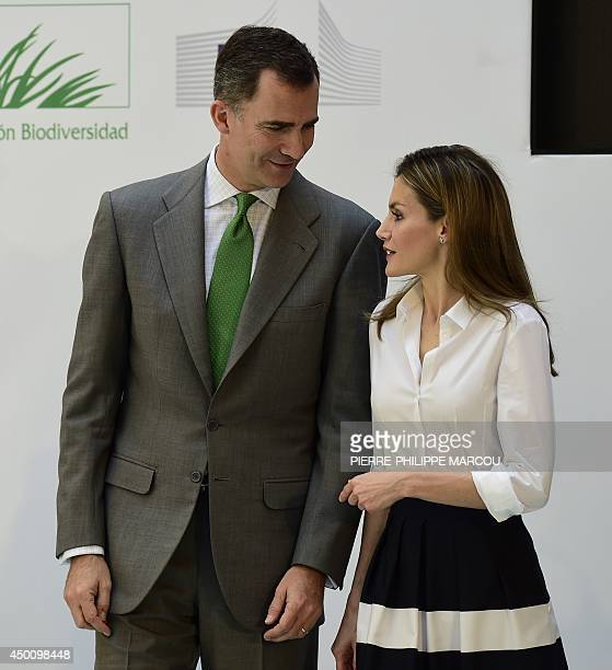 Spain's new kinginwaiting Prince Felipe and his wife Letizia attend the European Business Awards for the Environment ceremony at the Ministry of...