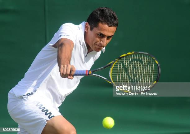 Spain's Nicolas Almagro in action against Finland's Jarkko Nieminen during day two of the 2011 Wimbledon Championships at the All England Lawn Tennis...