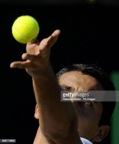 Spain's Nicolas Almagro in action against Russia's Mikhail Youzhny during day six of the 2011 Wimbledon Championships at the All England Lawn Tennis...