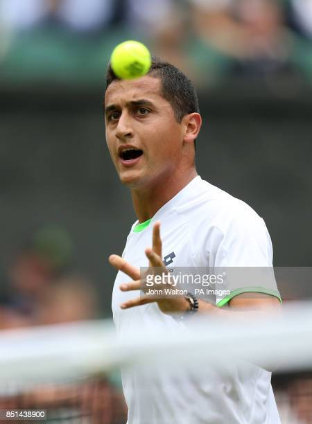 Spain's Nicolas Almagro reacts in his match against Poland's Jerzy Janowicz during day five of the Wimbledon Championships at The All England Lawn...