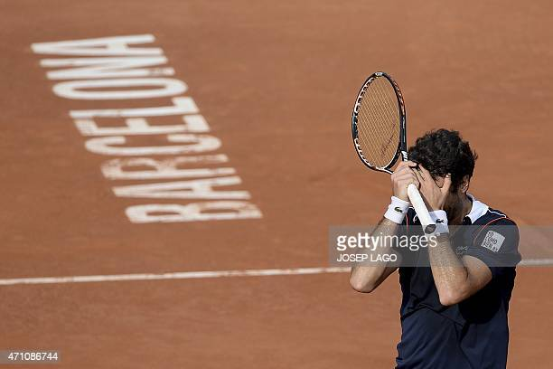 Spain's Pablo Andujar celebrates his victory against Spain's David Ferrer during their semifinal match at the ATP Barcelona Open 'Conde de Godo'...