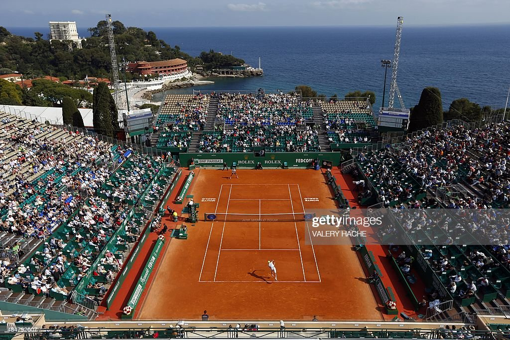 Spain's Pablo Andujar serves to France's Edouard Roger Vasselin during the Monte-Carlo ATP Masters Series Tournament tennis match, on April 14, 2014 in Monaco.