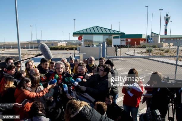 Spain's parliament members for Esquerra Republicana de Catalunya Joan Tarda and Gabriel Rufian speak to the press outside Estremera prison on...