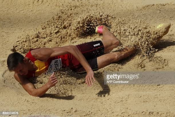 TOPSHOT Spain's Pau Tonnesen competes in the men's decathlon long jump athletics event at the 2017 IAAF World Championships at the London Stadium in...